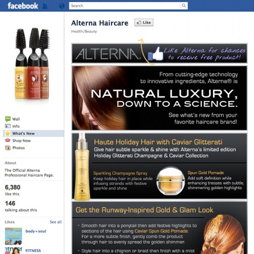 Custom Facebook Tab Haircare