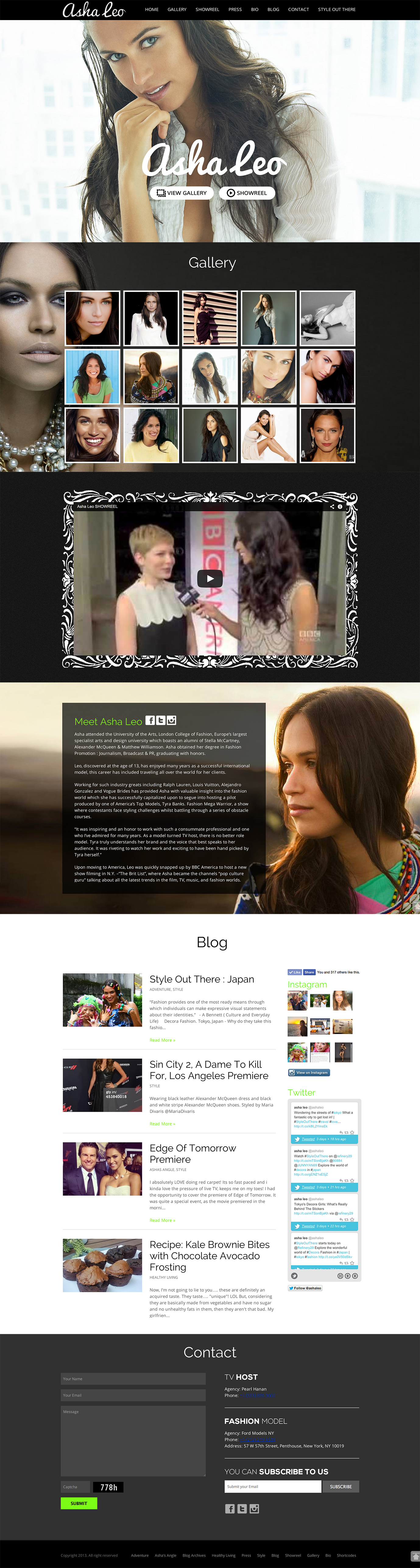 WordPress Website for Model and TV Host