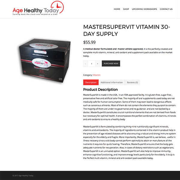 Health Products and Workshop E-Commerce WordPress Website