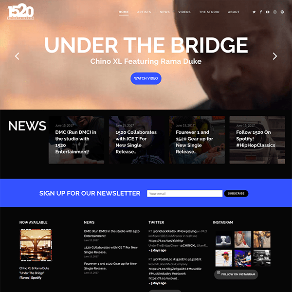 Record Label Responsive WordPress Website